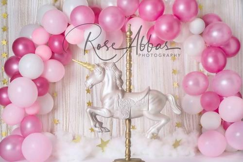 Katebackdrop£ºKate Unicorn in Pink Balloons Backdrop for Children Designed By Rose Abbas