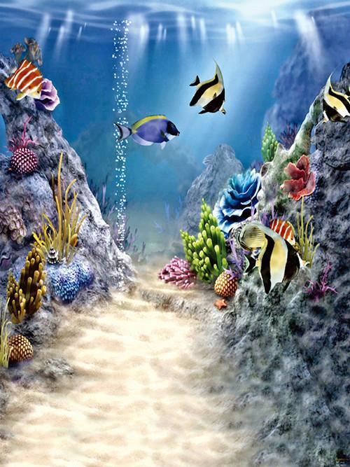 Katebackdrop:Kate Blue Seabed Fish Real Fantasy Children Photo Backdrop