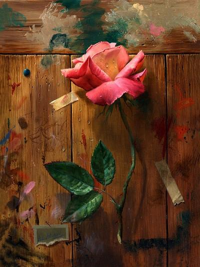 Katebackdrop:Kate Valentine'S Day Rose Dirty Wood Wall Backdrops