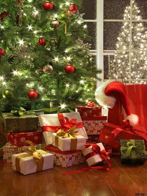 Katebackdrop:Kate Christmas Tree with Decoration and Gifts backdrop for Christmas Eve Photography