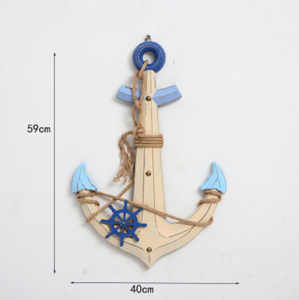 Katebackdrop:Mediterranean style decor navigation buoy rudder helmsman pendant pendant ornaments mural Photography Props Sea Beach Side