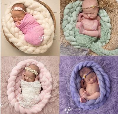 Katebackdrop:Newborn Photography Basket Braid Wool Wrap Baby Photo Props