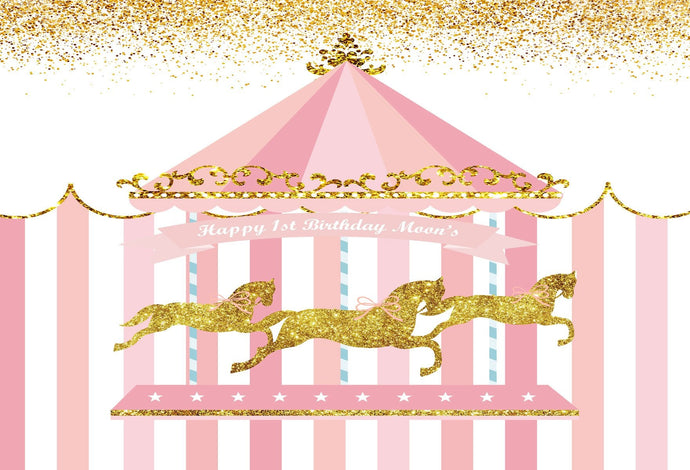 Katebackdrop:Kate Carousel Horses Circus Pink Banner Photography Backdrops for Girl Baby Shower