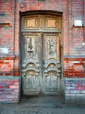 Katebackdrop:Kate Retro Old Castle Door Backdrop Brown Brick Wall
