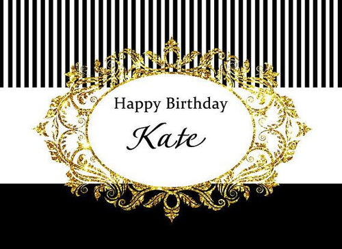 Katebackdrop:Kate White and Black Stripe Gold Photography Backdrops for Birthday Party
