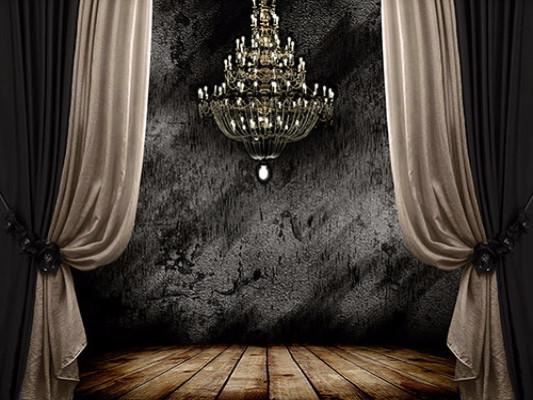 Katebackdrop:Kate Stage Backdrop Wood Floor Chandelier Background