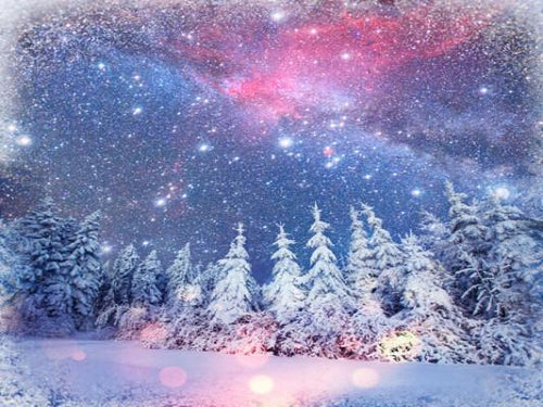 Katebackdrop:Kate Snow Scenery Colorful Sky Snow Forest Backdrops