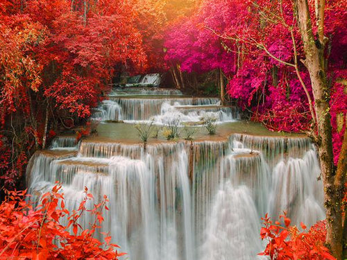 Katebackdrop:Kate Red autumn Forest Photo waterfall Backdrop