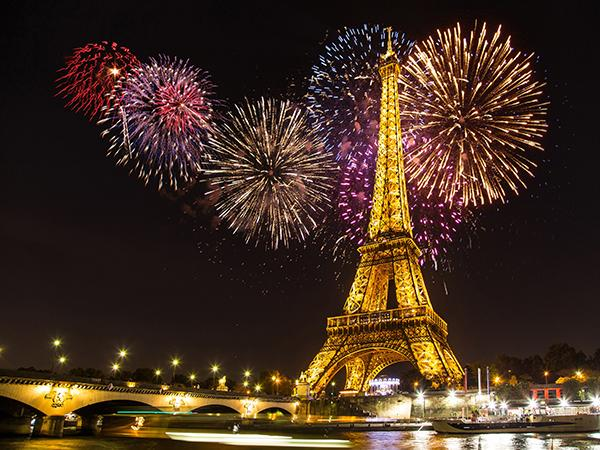 Katebackdrop:Kate Night Eiffel Tower Backdrop Fireworks for Photography