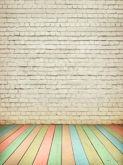 Katebackdrop:Kate White Brick Backdrop Colored Wood Floor For Photography
