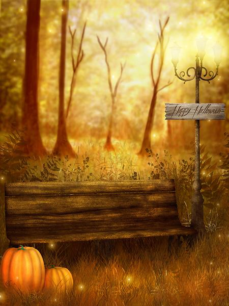 Katebackdrop:Kate Halloween Backdrop Photography Pumpkin Autumn forest for Pictures