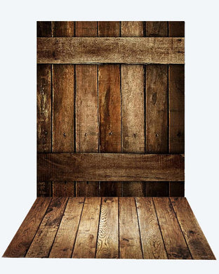 Katebackdrop:Kate dark barn wood wall + Dark brown floor mat