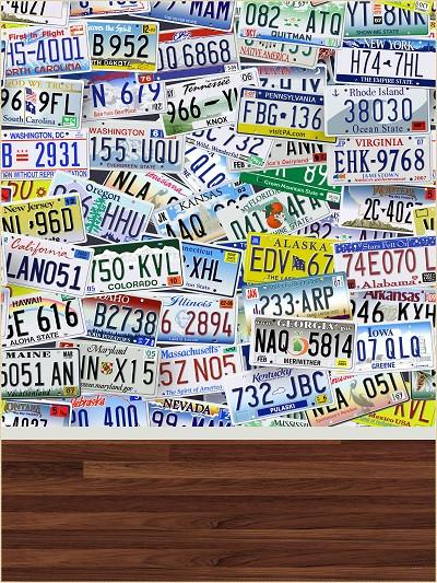 Katebackdrop:Kate Blue Background Accumulate License Plate Number Wood Floor