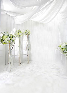 Katebackdrop:Kate Wedding Backdrops Green Flowers White Wall Floor Background Photography