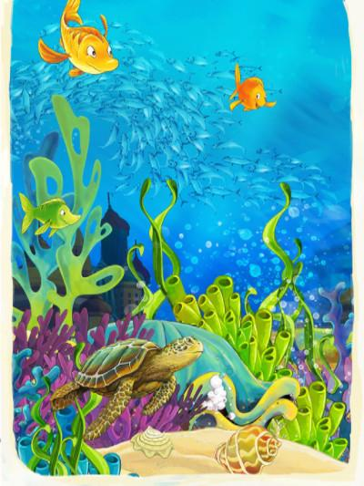Katebackdrop:Kate Penteadeira Underwater World Cartoon Animal Bule Curtain Backdrop