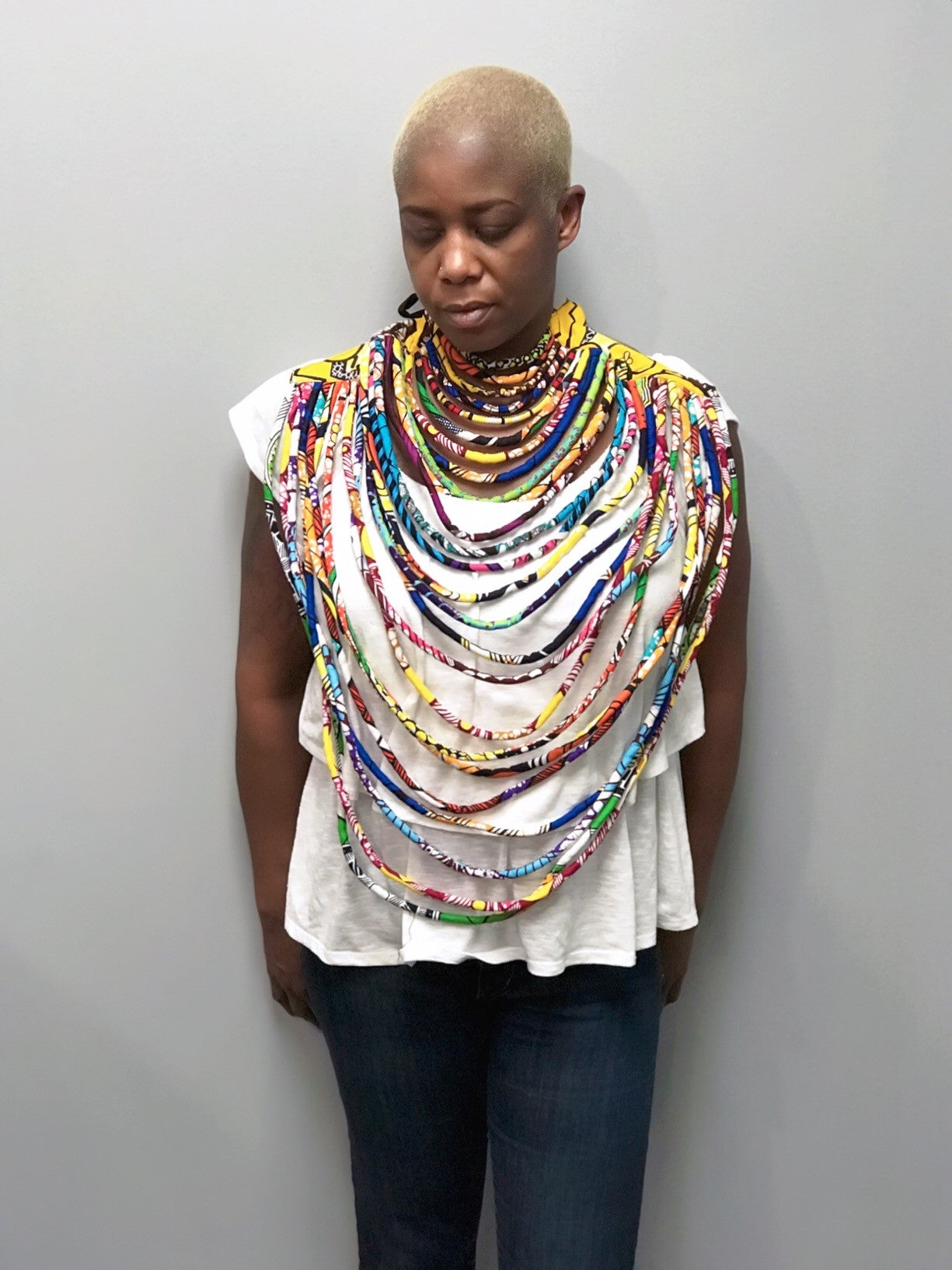 Large Multi Strand Ankara Necklace