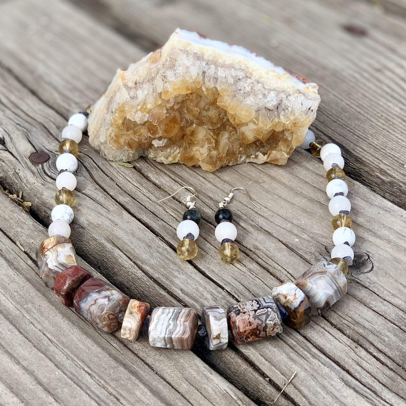 Ancient Element Creations Necklace Agate, Howlite and Citrine Necklace with Earrings