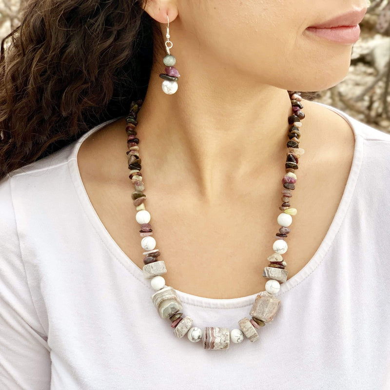 Ancient Element Creations Necklace Agate, Howlite and Jasper Necklace with Earrings