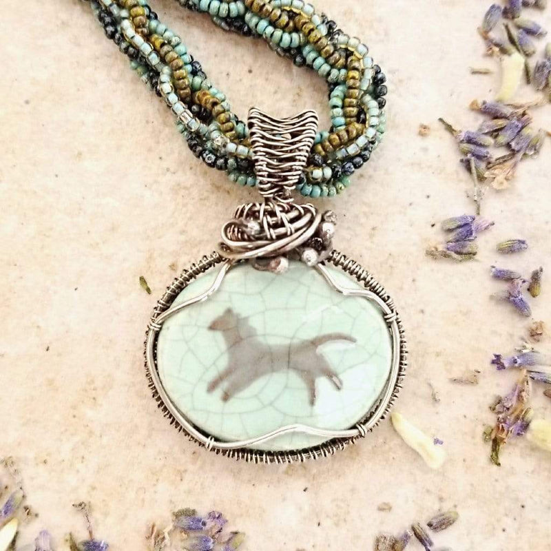 Ancient Element Creations Necklace Aqua Horse Pendant with Woven Beaded Kumihimo