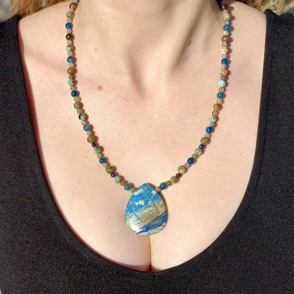 Ancient Element Creations Necklace Lightning Azurite with Apatite and Jasper