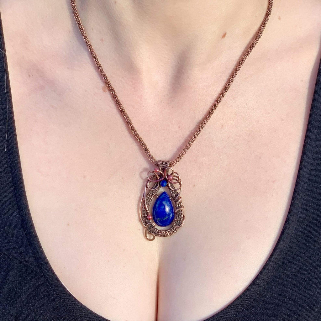 Ancient Element Creations Necklace Wire Wrapped Lapis Lazuli Necklace