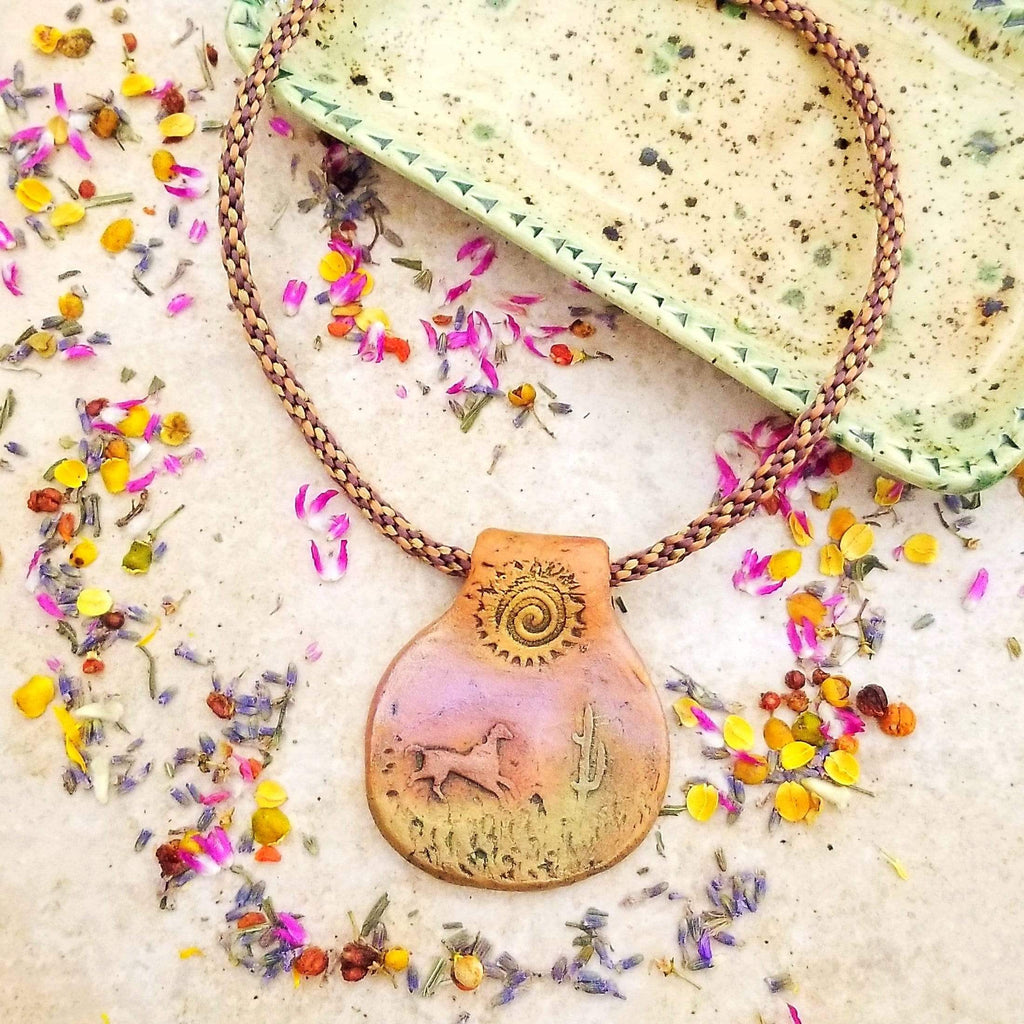 AncientElementCreations Necklace Desert Journey Pendant with Kumihimo