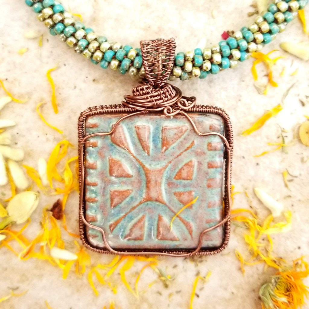 AncientElementCreations Necklace Mayan Inspired Square Pendant with Beaded Kumihimo
