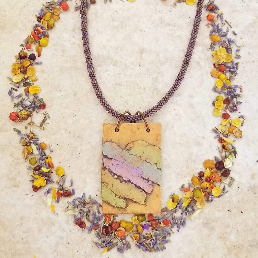 AncientElementCreations Necklace Multi-Colored Rectangular Pendant with Beaded Kumihimo