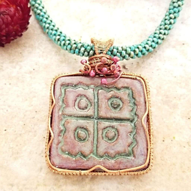 AncientElementCreations Necklace Native Inspired Square Pendant with Beaded Kumihimo