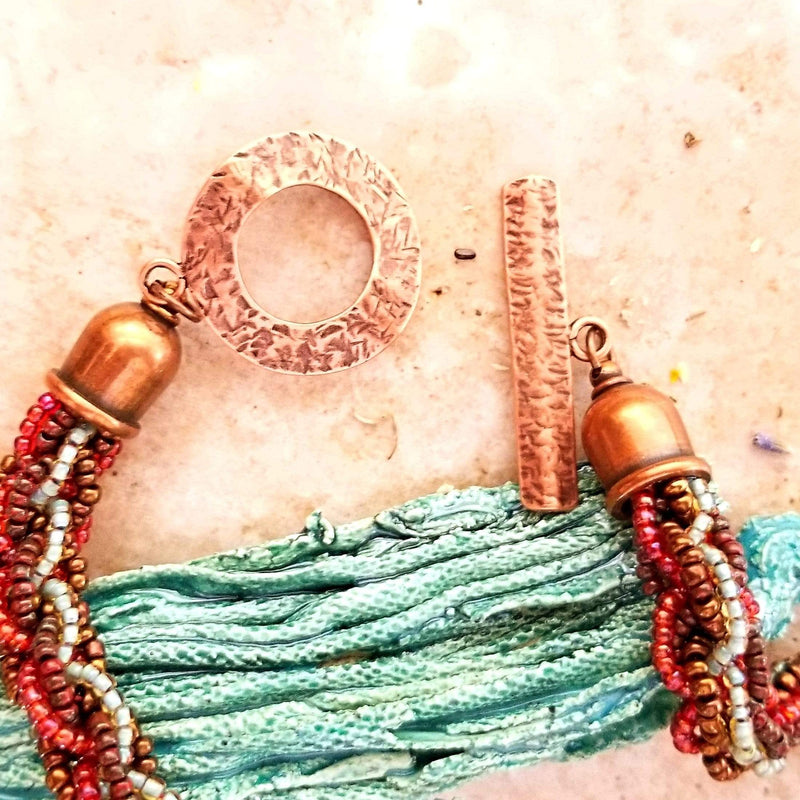 AncientElementCreations Necklace Natural Rock Style Pendant with Woven Bead Kumihimo