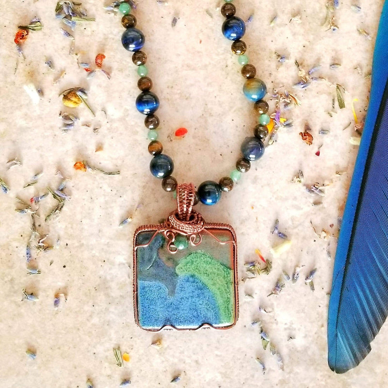 AncientElementCreations Necklace Square Ocean Pendant with Copper Wire-Wrap
