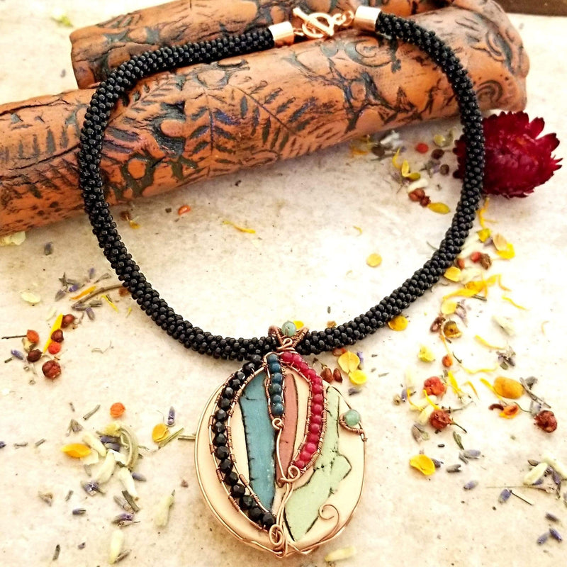 AncientElementCreations Necklace Tricolor Pendant with Beaded Wire Wrap and Kumihimo