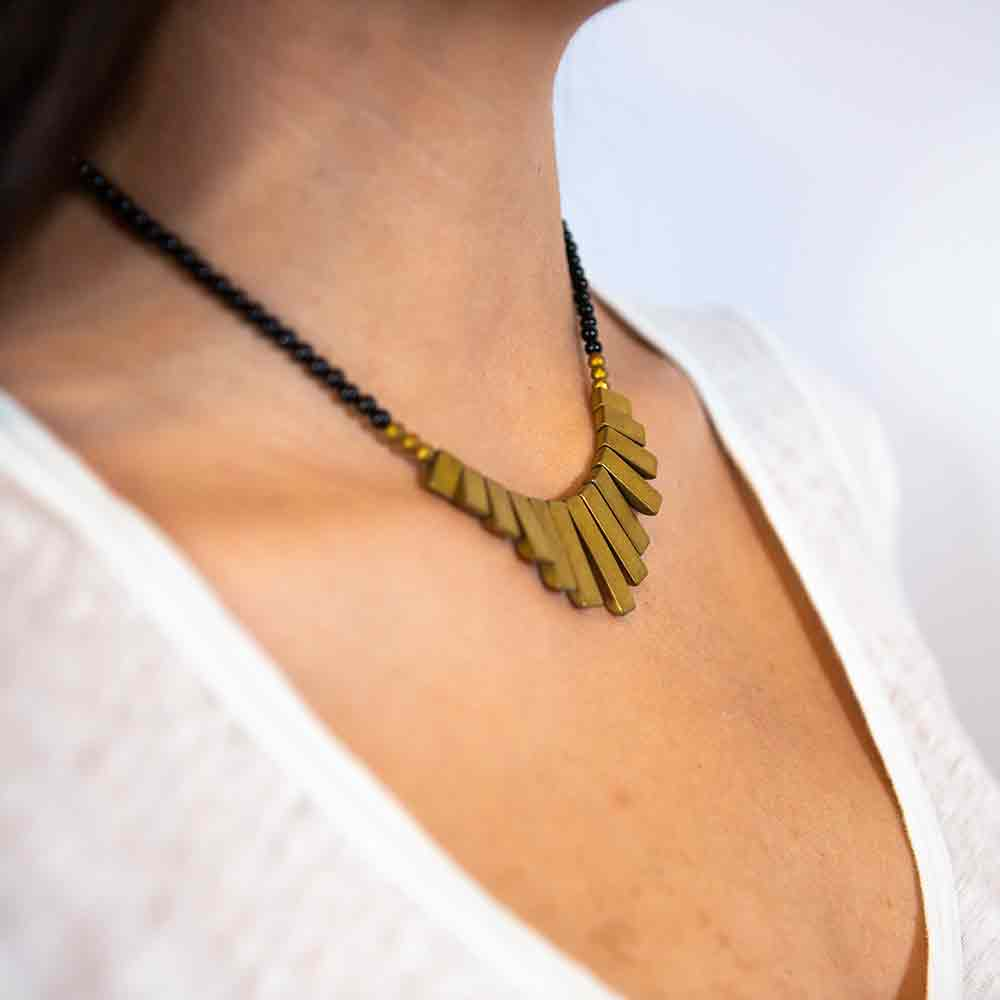 onyx and pyrite necklace modeled on neck