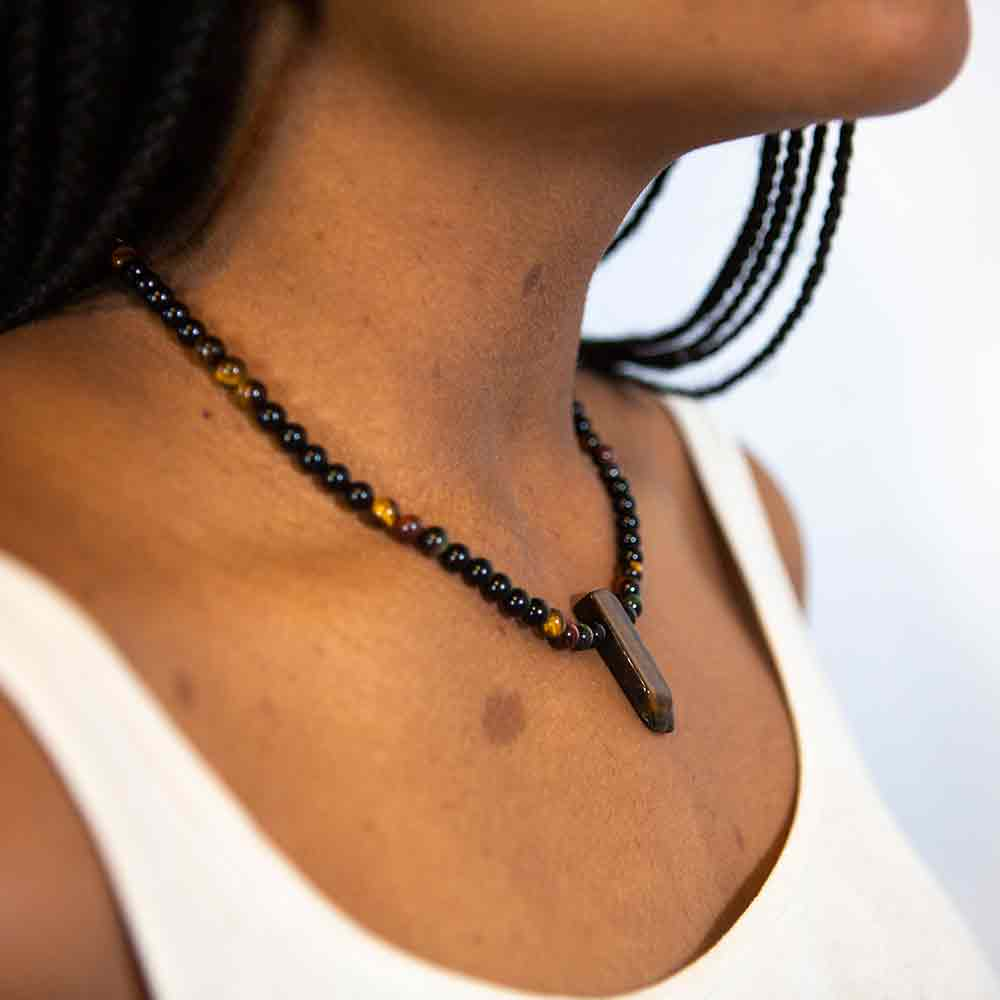 tiger eye and pyrite necklace modeled on neck