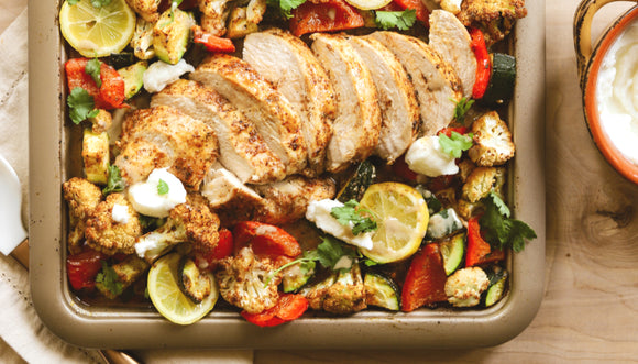 One Pan Chicken Shawarma with Roasted Vegetables