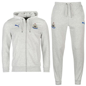 Newcastle United Leisure Hooded Presentation Soccer Tracksuit 2017/18 Light Grey - Puma - SoccerTracksuits.com