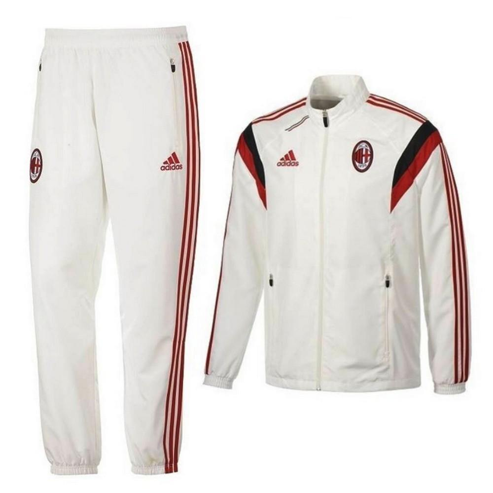 Ac Milan White Presentation Soccer Tracksuit 2014/15 - Adidas - SoccerTracksuits.com