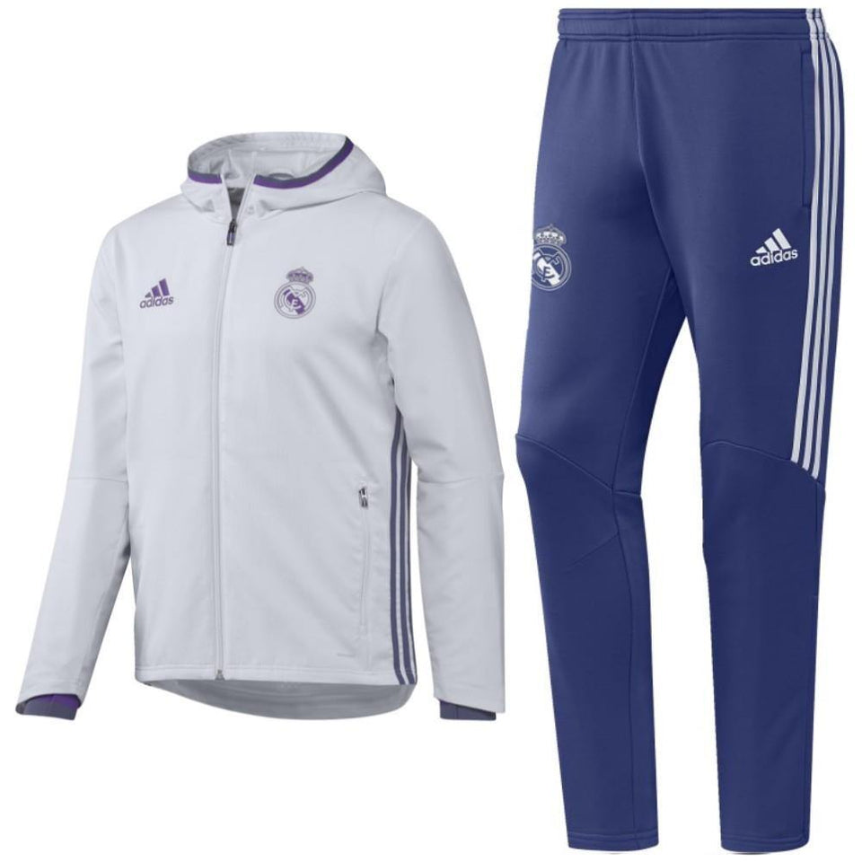 Real Madrid Presentation Soccer Tracksuit 2016/17 White - Adidas - SoccerTracksuits.com
