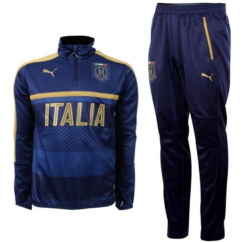 Italy Tribute 2006 Technical Training Soccer Tracksuit 2016/17 Navy - Puma - SoccerTracksuits.com