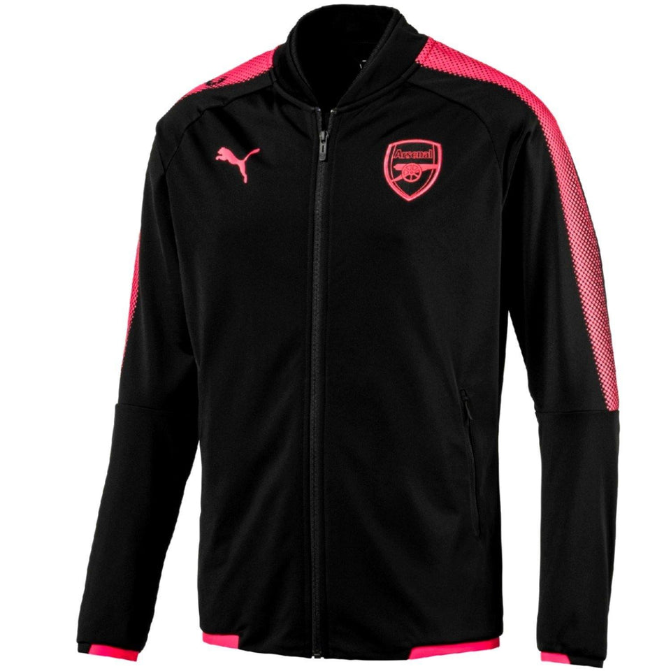 Arsenal Pre-Match Training Presentation Soccer Tracksuit 2017/18 Black - Puma - SoccerTracksuits.com
