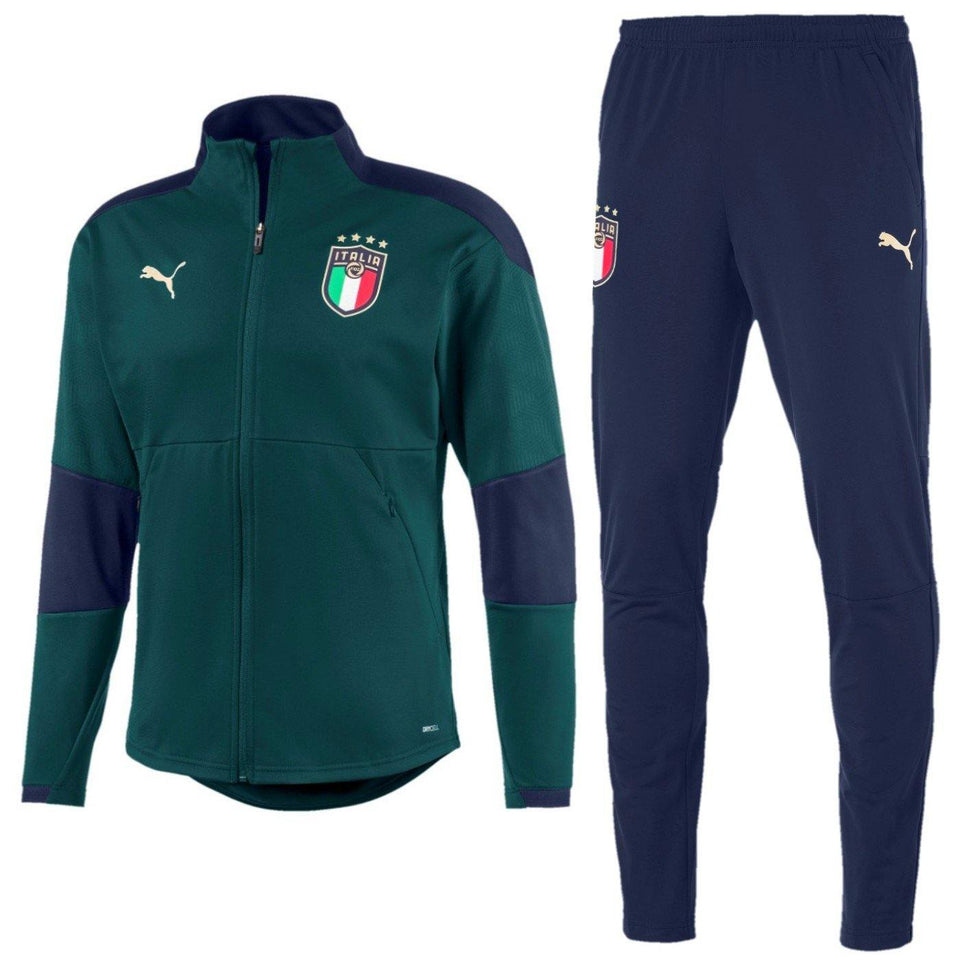 Italy national team green training Soccer tracksuit 2019 - Puma - SoccerTracksuits.com