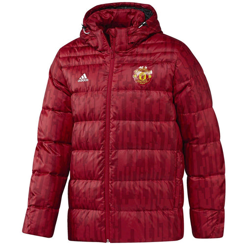 Manchester United soccer red training bench padded jacket 2017/18 - Adidas - SoccerTracksuits.com