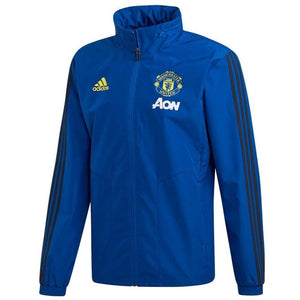 Manchester United soccer blue training rain jacket 2019/20 - Adidas - SoccerTracksuits.com