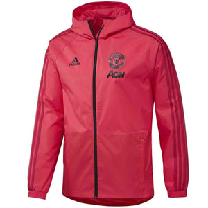 Manchester United soccer red training rain jacket 2018/19 - Adidas - SoccerTracksuits.com