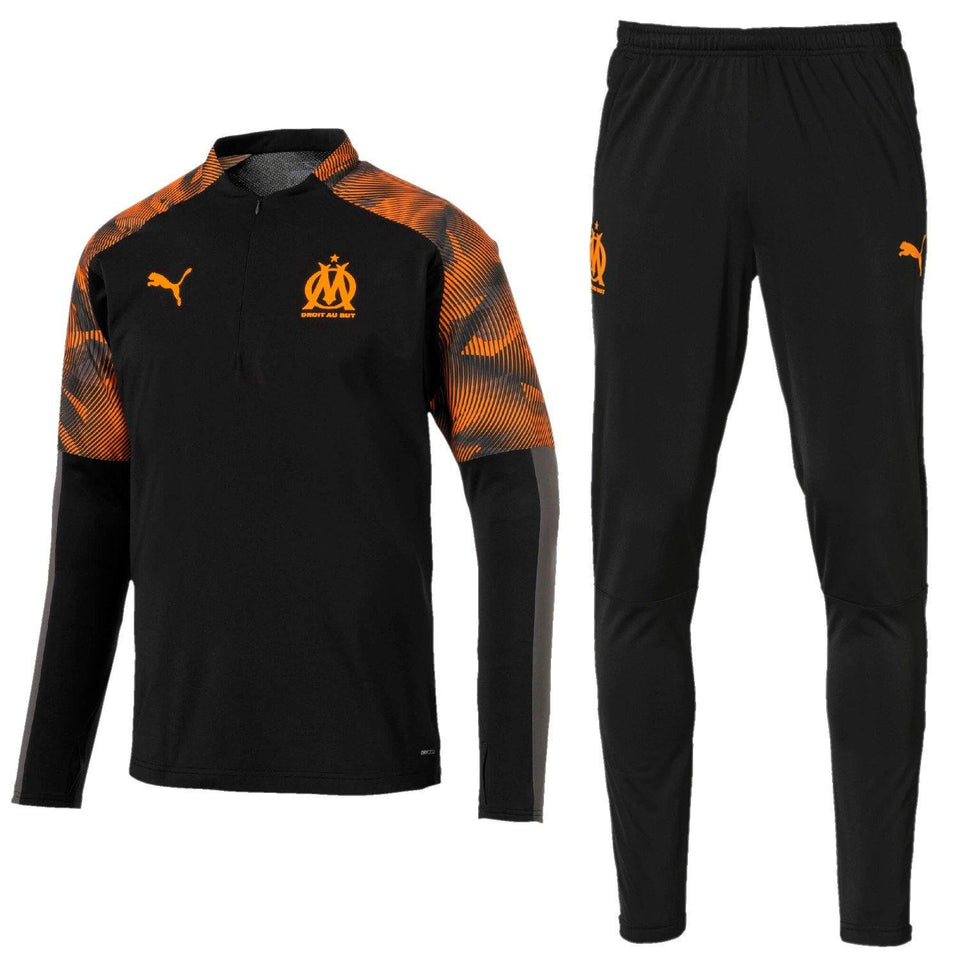 Olympique Marseille black training technical Soccer tracksuit 2019/20 - Puma