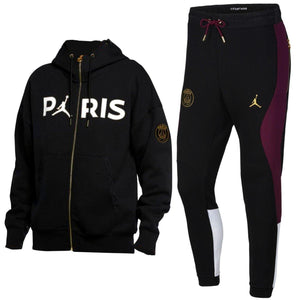 Jordan x PSG black Casual Fleece presentation tracksuit 2020/21 - Jordan