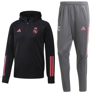 Real Madrid black/grey hooded training technical tracksuit 2020/21 - Adidas
