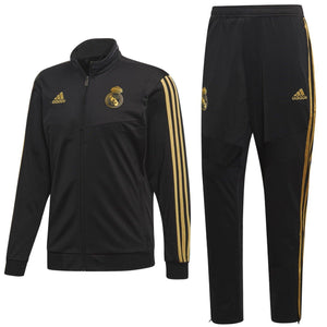 Real Madrid soccer black bench training tracksuit 2019/20 - Adidas - SoccerTracksuits.com