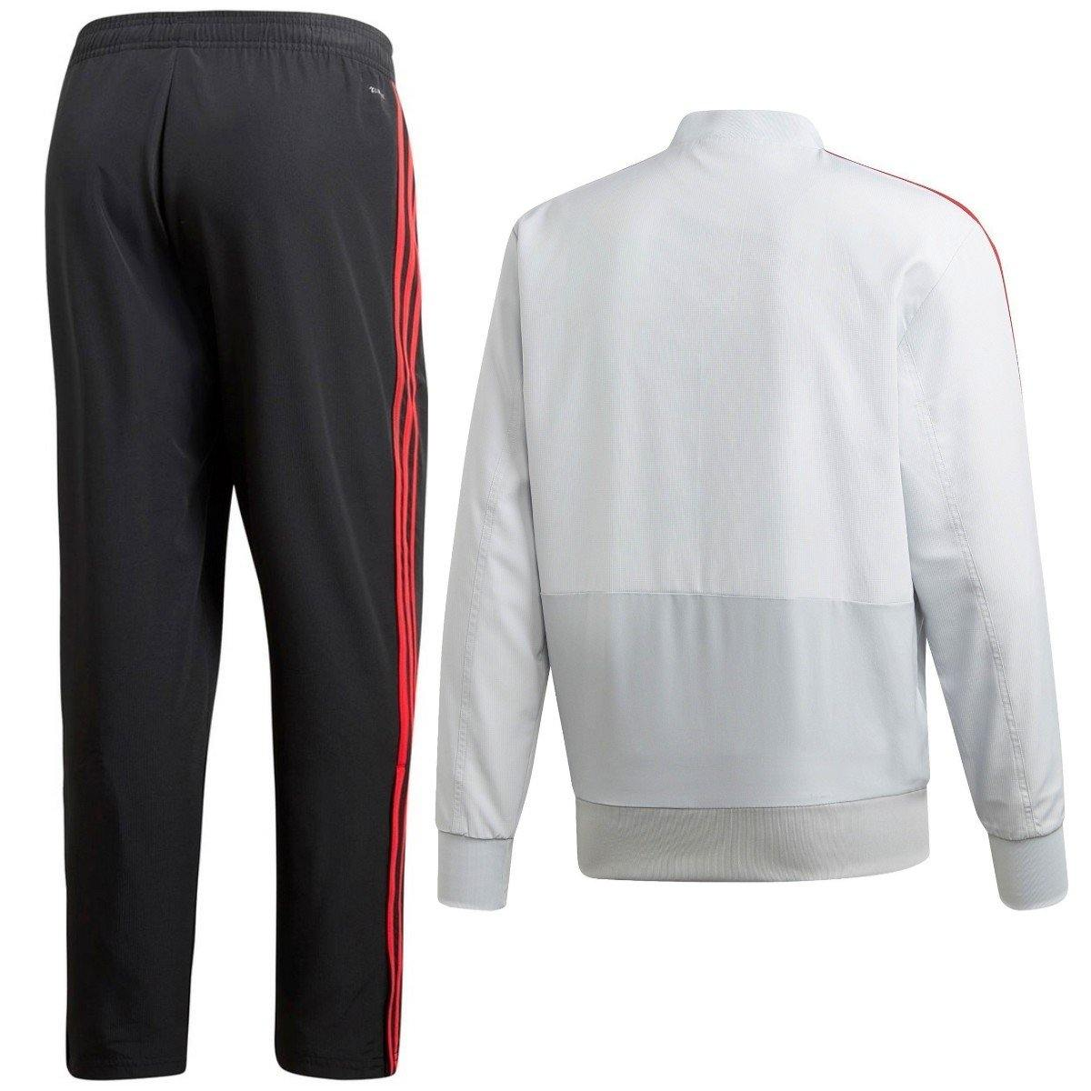 red and bianca adidas tracksuit bottoms