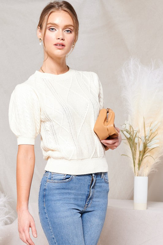 Jules Cable Knit Puff Sleeve